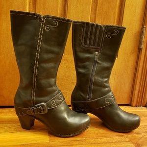 Women's Dansko Black Leather Boots Size 39 8.5 / 9